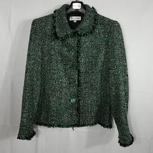 💖Enrico Baldini Green Tweed Blazer Sz 10